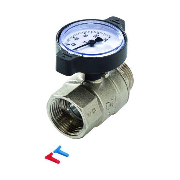 Robinet cu bila din alamaTECEfloor SLQ prevazut cu termometru in manerul rotativ de actionare