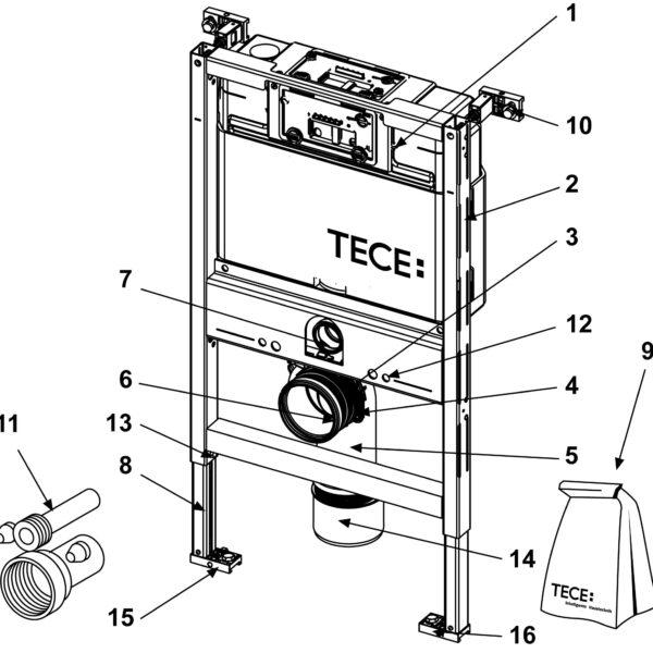 Rezervor WC cu cadru TECE STANDARD, actionare frontala sau superioara, inaltime 820 mm - 9300001