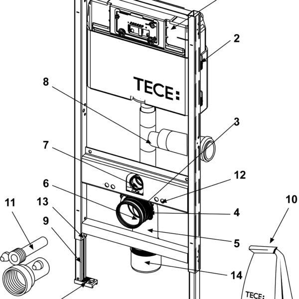 Rezervor WC cu cadru TECE STANDARD, actionare frontala, cu conexiune pentru evacuarea mirosurilor, inaltime 1120 mm - 9300003