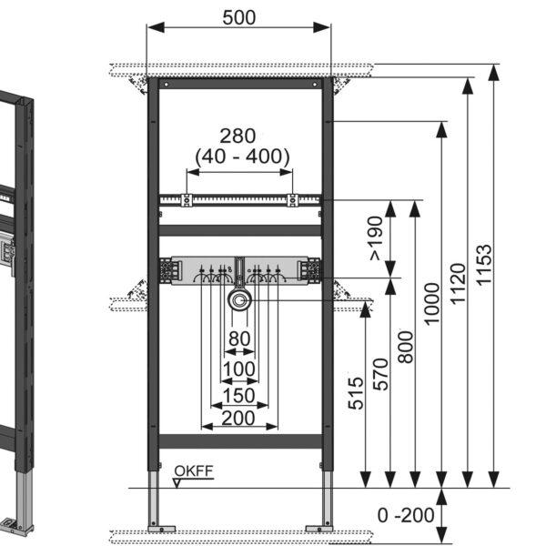 Cadru lavoar TECE STANDARD, I = 500 mm, H 1120mm reglabila - 9310000
