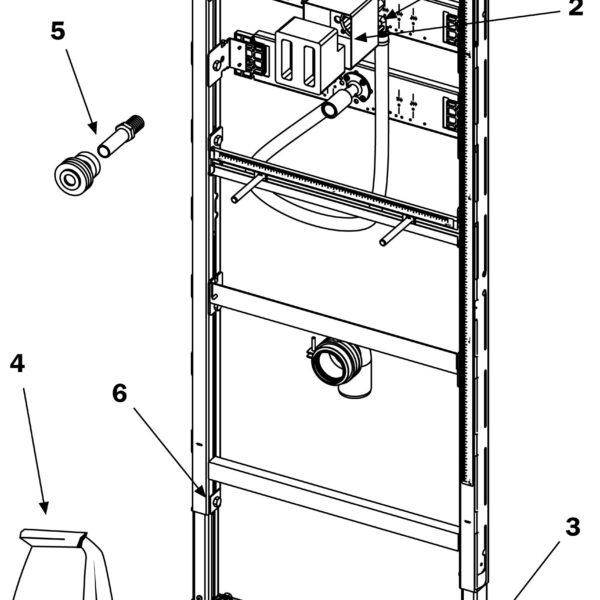 Cadru URINAL TECE cu modul spalare inclus, actionare frontala, H1120 mm - 9320008