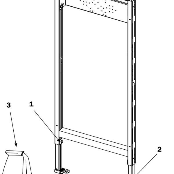 Cadru metalic pentru montajul bateriilor de dus si cada, H 1120 mm - 9340000