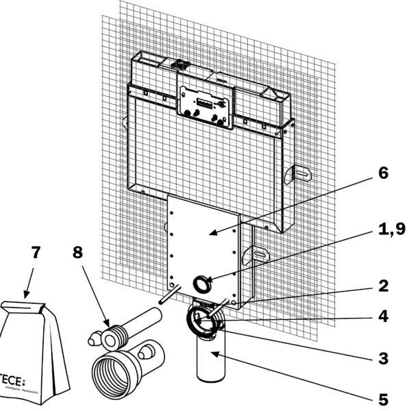 Rezervor WC TECEbox 8 cm, montaj in zidarie, pentru vas WC suspendat, actionare frontala - 9370008
