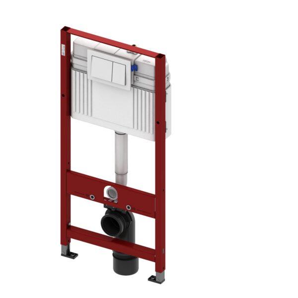 Rezervor WC cu cadru TECE BASE, actionare frontala, inaltime 1120mm, cu sistem de fixare si clapeta alba incluse - 9400000