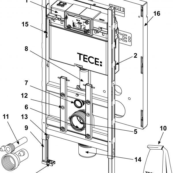 Rezervor WC cu cadru TECE STANDARD, actionare frontala, inaltime 1120 mm - 9300000